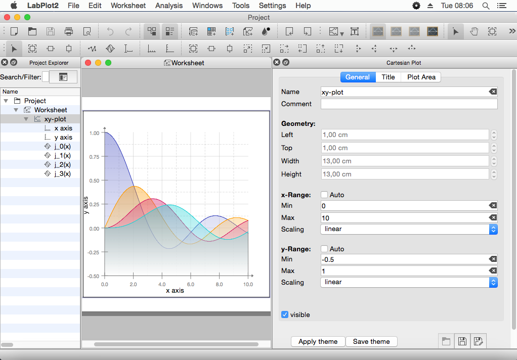 LabPlot running on Mac OS