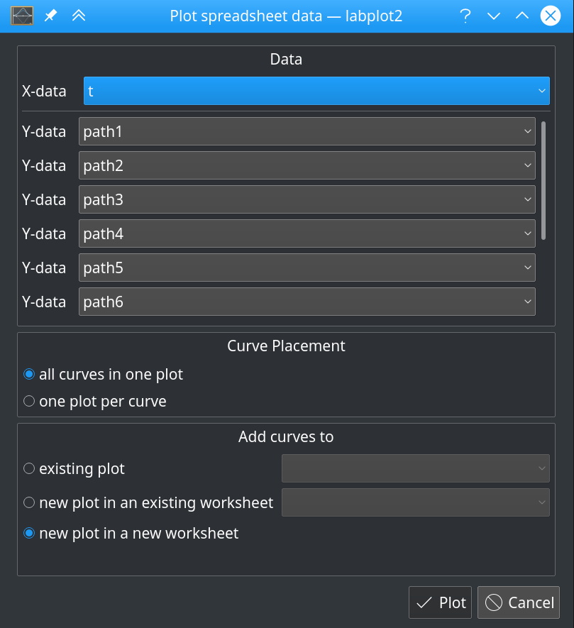 plot data dialog