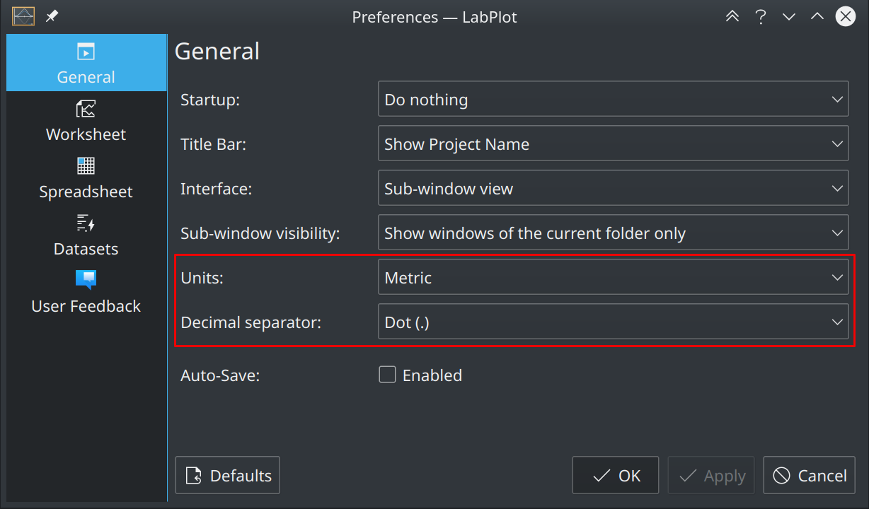 Units and Decimal Separator Settings